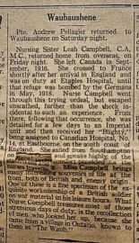 THE NEW ERA 1919, NURSE CAMPBELL RETURNS HOME AFTER SERVICE IN FRANCE DURING WORLD WAR ONE