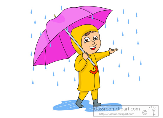 child wearing rain gear with umbrella