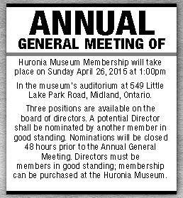 Huronia Museum AGM Apr 9 15