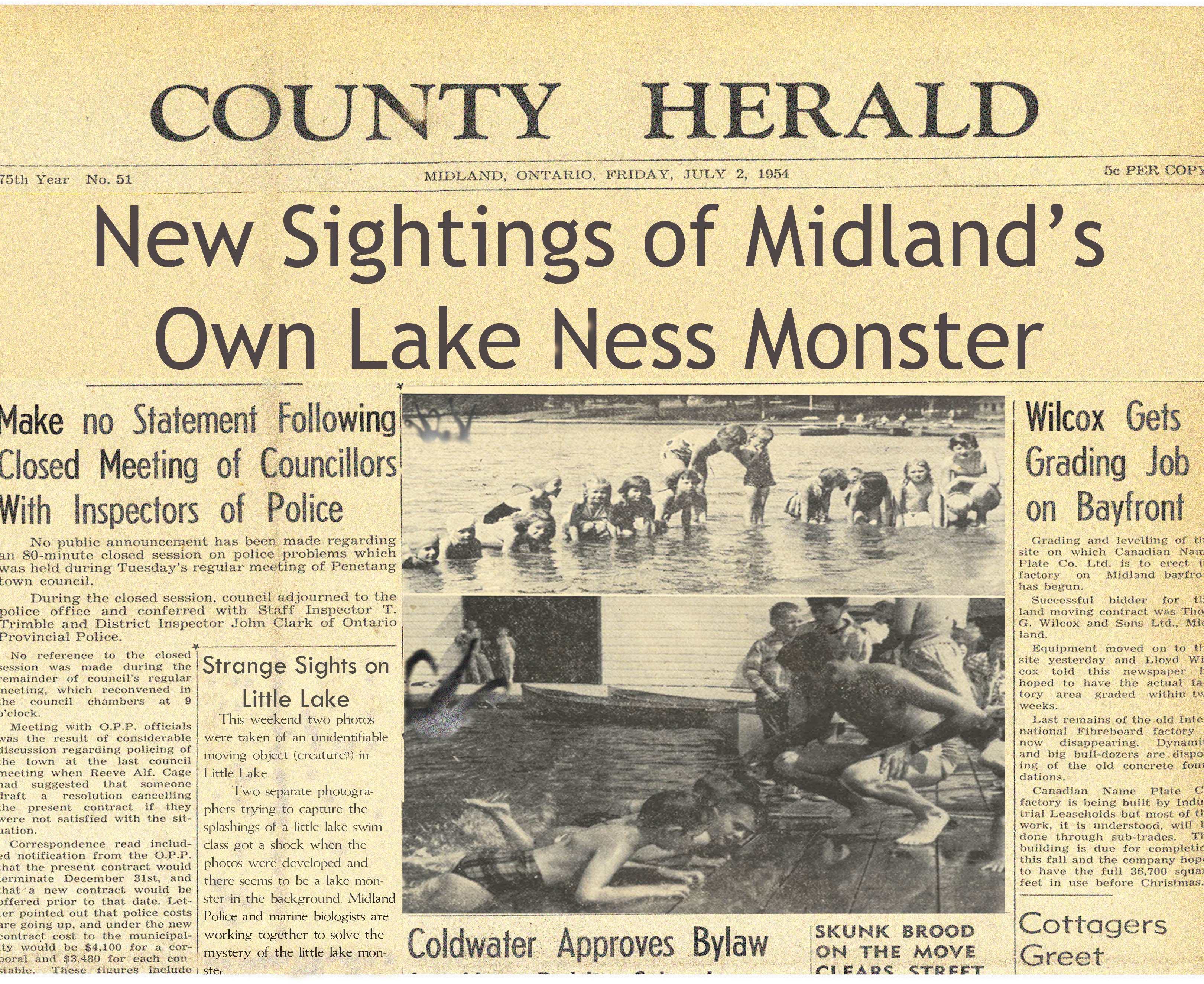 Old sightings of Midland's own Lake Monster   Huronia Museum