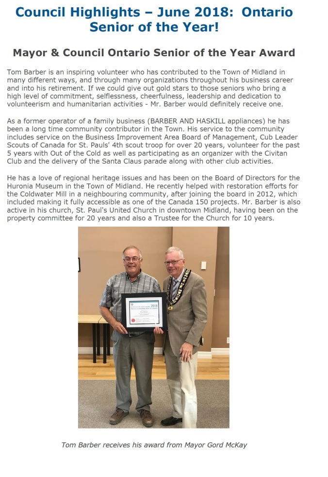 TomBarber Town of Midland Award